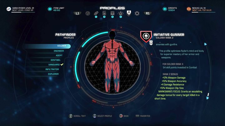 The Soldier profile on the selection screen. - Soldier | Character profiles - Character profiles - Mass Effect: Andromeda Game Guide