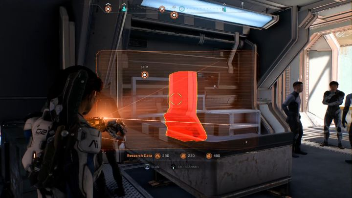 Элементы, доступные для сканирования, окрашены в красный цвет.  - Что такое данные исследований в Mass Effect: Андромеда и как их получить?  - FAQ - Часто задаваемые вопросы - Mass Effect: Руководство по игре Andromeda