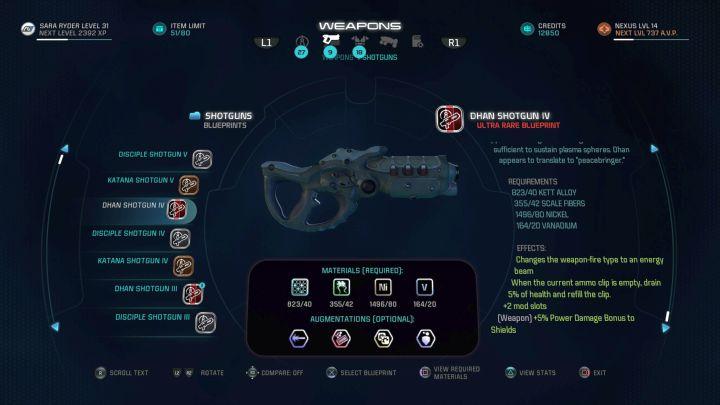 Экран создания предмета, здесь представлен один из ружей.  - Создание оборудования |  Оборудование - Оборудование - Mass Effect: Руководство по игре Andromeda