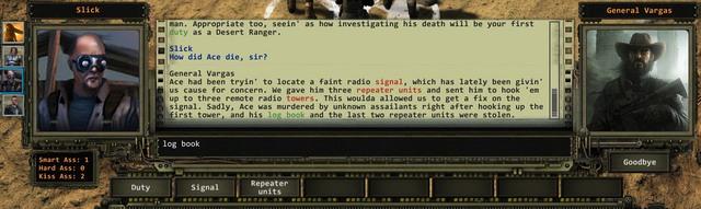 The dialogue screen. - Dialogues | The basics of the gameplay - The basics of the gameplay - Wasteland 2 Game Guide & Walkthrough