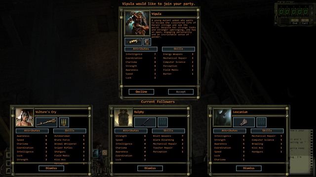 With the attempt to enlist an eighth member, you need to decide who is going to leave the party.. - Party management and recruitment of new members | The party - The party - Wasteland 2 Game Guide & Walkthrough