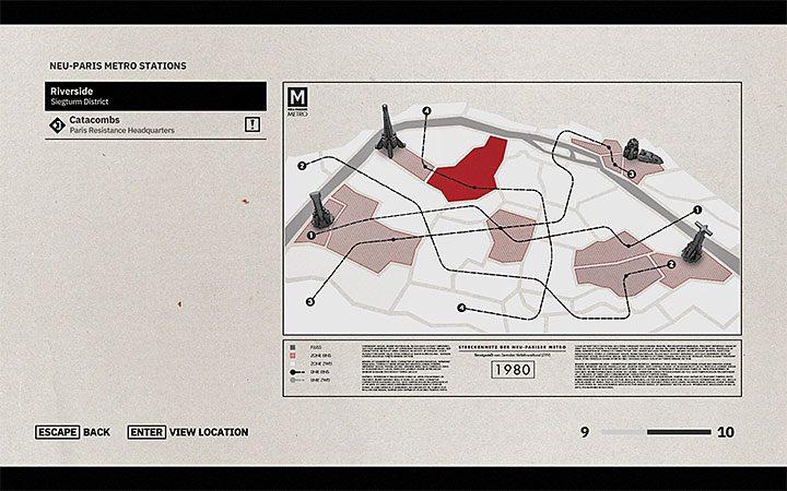 После вызова карты отобразится список известных на данный момент станций - Как использовать быстрое путешествие в Wolfenstein Youngblood?  - Wolfenstein: Youngblood - Руководство по игре и прохождение игры