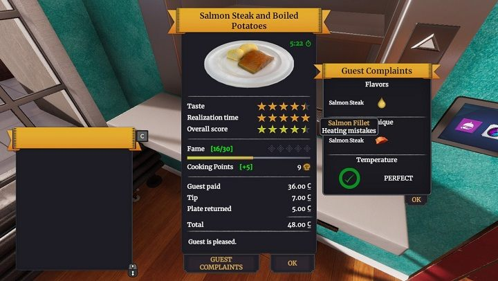 Any feedback from the guests lets us understand what we did wrong. - Evaluation of dishes, guests, and income in Cooking Simulator - Game Mechanics - Cooking Simulator Guide