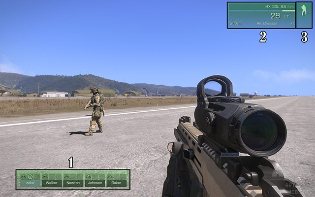 1: shows the names of the members in your team, as well as icons that indicate what vehicle your teammate is in - Interface - Gameplay Basics - Arma III - Beta - Game Guide and Walkthrough
