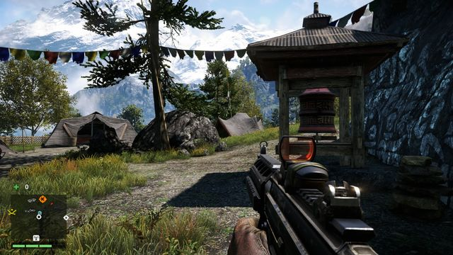 With the tents behind your back, you will notice the wheel near some rocks, on the left - Southern and central Kyrat - Mani Wheels - Far Cry 4 - Game Guide and Walkthrough