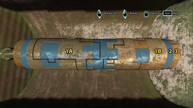 Переключите (2 щелчка) на номер 2 и поверните его так, чтобы линии в левом окне совпадали с линиями на номер 1А - Найдите и осмотрите секретный замок в поместье Ноттинг Хилл - Прогулка по полумесяцу - Шерлок Холмс: Преступления и наказания - Игра Руководство и прохождение