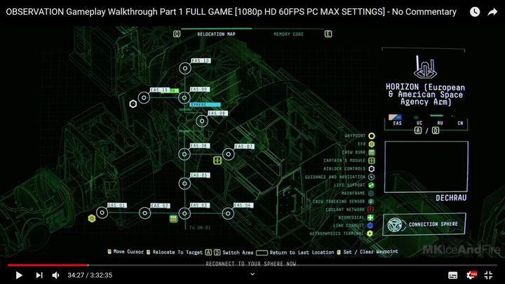 Вы можете использовать пробел, чтобы вернуться к карте станции - II.  Реактор  Прохождение Наблюдения - Прохождение - Руководство по Наблюдению