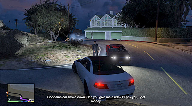 The person standing next to the broken car - Hitchhiker - 1 - Random events - Grand Theft Auto V Game Guide
