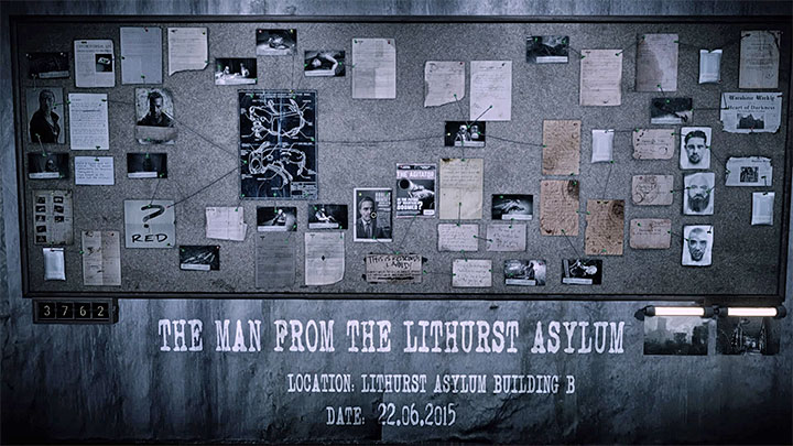 The evidence board for the building B is presented in the picture above - The Asylum - building B | Hidden memories - Hidden memories - Get Even Game Guide