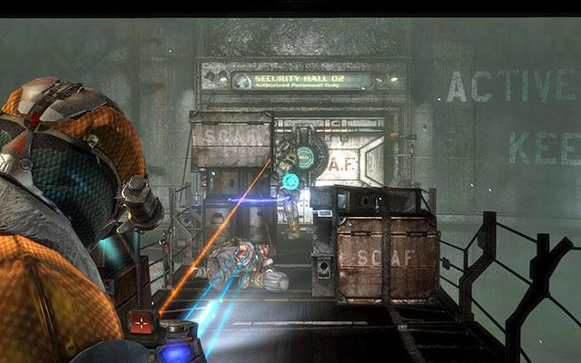 На мосту несколько юнитологов - используйте ящики в качестве укрытий и избавьтесь от противников - Соберите тайник с боеприпасами |  Побочные миссии: Оружейная - Побочные миссии: Оружейная - Dead Space 3 Руководство по игре