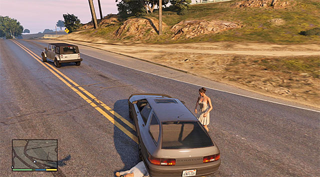 You need to park near the bride and wait for her to get into the car - Hitchhiker - 4 - Random events - Grand Theft Auto V Game Guide