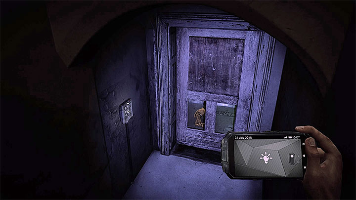 When you go down you can see the door with an electronic lock, the door are presented in the picture - The Asylum - building B | Hidden memories - Hidden memories - Get Even Game Guide