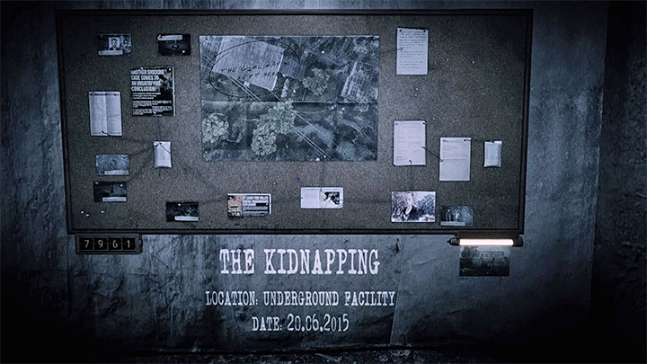 The evidence board for The Kidnapping memory is presented in the picture above - The Kidnapping | Hidden memories - Hidden memories - Get Even Game Guide