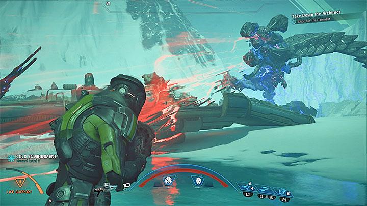 Избегайте гранат и энергетических волн, посылаемых Архитектором - Как победить Остатка Вельда?  |  Босс борется |  Прохождение - Битвы с боссами - Mass Effect: Руководство по игре Andromeda