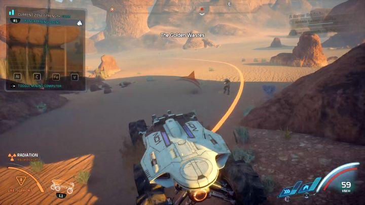 Оранжевая линия показывает радиус действия ранее установленного горного дрона.  - Как собирать ресурсы с помощью NOMAD в Mass Effect: Andromeda?  - FAQ - Часто задаваемые вопросы - Mass Effect: Руководство по игре Andromeda