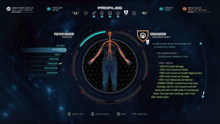 The Engineer profile on the selection screen. - Engineer | Character profiles - Character profiles - Mass Effect: Andromeda Game Guide