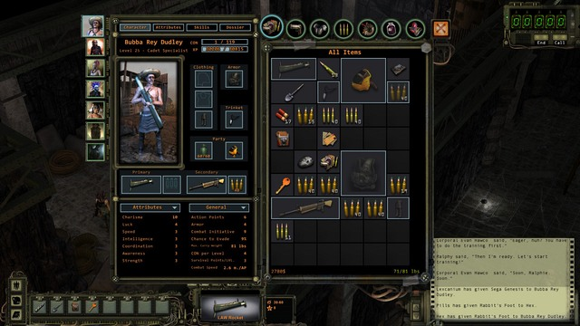 Character screen. - Character screen and inventory | The basics of the gameplay - The basics of the gameplay - Wasteland 2 Game Guide & Walkthrough