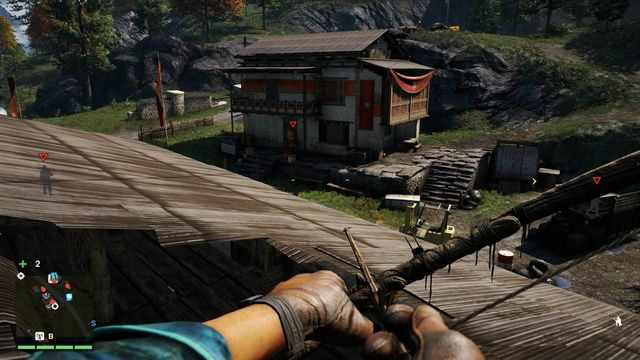 From the rooftop, you will have a good view on the place. Also, it will be easy for you to eliminate two enemies going inside the building. - Rochan Brick Co. Shipping - Outposts - One alarm - Far Cry 4 - Game Guide and Walkthrough