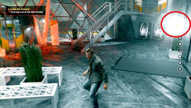 Collect the secret before going out to the parking lot... - Chronon Sources (act III) - Secrets - Quantum Break - Game Guide and Walkthrough