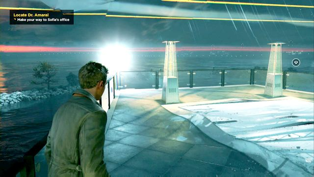 Chronon Source found behind the gallery on the balcony. - Chronon Sources (act III) - Secrets - Quantum Break - Game Guide and Walkthrough