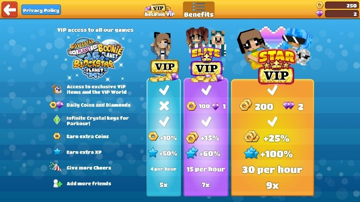 1 - Step 9 - VIP option in BlockStarPlanet - 10 steps to start - BlockStarPlanet Guide