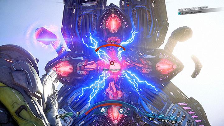 Когда это станет возможным, ослабьте кабели на голове Архитектора - Как победить Остатка Острова Эос?  |  Босс борется |  Прохождение - Битвы с боссами - Mass Effect: Руководство по игре Andromeda