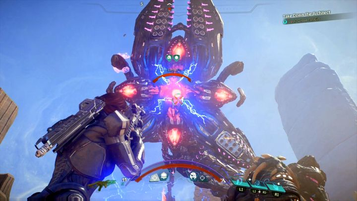 ...and then its head, once it becomes available - How to defeat the Remnant Architect on Elaaden?   Boss fights   Walkthrough - Boss battles - Mass Effect: Andromeda Game Guide