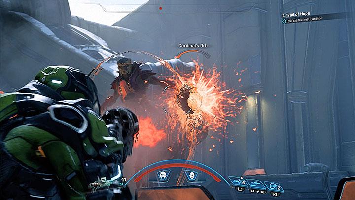 Ваш враг - асцендент, окруженный силовым полем, которое делает ваши атаки неэффективными. Как победить кардинала Вельда Кетта?  |  Босс борется |  Прохождение - Битвы с боссами - Mass Effect: Руководство по игре Andromeda