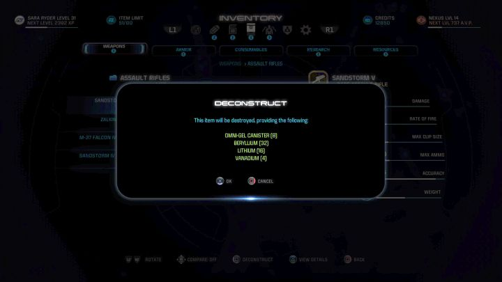 Dismantling allows you to get a lot of crafting materials. - Dismantling items | Equipment - Equipment - Mass Effect: Andromeda Game Guide