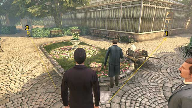 1 - to the Palm house, 2 - to the Seed house. - Inspect Kew Gardens staff buildings and gather information on Montague Dunne - The Kew Gardens Drama - Sherlock Holmes: Crimes and Punishments - Game Guide and Walkthrough