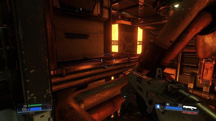 Повернитесь к щели на тротуаре, получив руку, необходимую для использования на одном из терминалов - Foundry |  Секреты - Секреты - Руководство по игре в Doom и прохождение