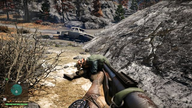 Take the mask off the dead body located near some rocks, behind the car - Northern and north-eastern Kyrat - Yalungas Masks - Far Cry 4 - Game Guide and Walkthrough