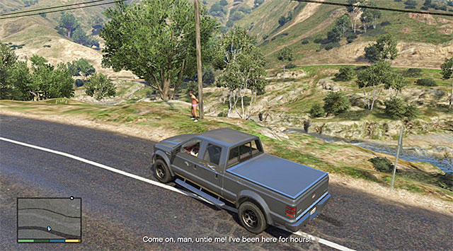 The young man roped to a pole - Stag do running man - Random events - Grand Theft Auto V Game Guide