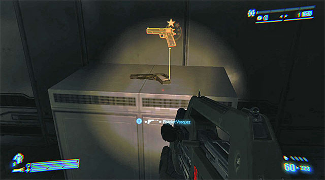LEGENDARY WEAPON 5/6 (Vasquezs Pistol) - Shortly at the beginning of the mission - Legendary Weapons - Collectibles - Aliens: Colonial Marines - Game Guide and Walkthrough