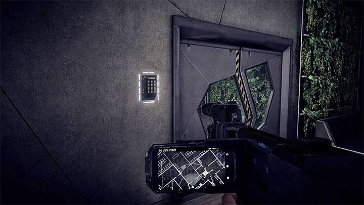Вы попадете к запертой двери, как только воспользуетесь лифтом на верхний этаж (штаб-квартира ADS). Как справиться с электронным замком в штаб-квартире ADS?  - Решая головоломки - Get Even Game Guide