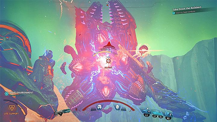 Когда это станет возможным, вы должны ослабить кабели на голове Архитектора - Как победить Остатка Вельда?  |  Босс борется |  Прохождение - Битвы с боссами - Mass Effect: Руководство по игре Andromeda