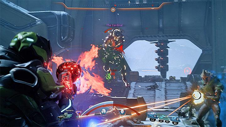 Используйте возможность стрелять в кардинала, используя свое лучшее оружие и способности - Как победить кардинала Вельда Кетта?  |  Босс борется |  Прохождение - Битвы с боссами - Mass Effect: Руководство по игре Andromeda