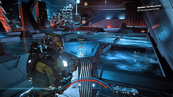 The second relay is located in the eastern part of the room, but you have to wade through the southern part to reach it - How to defeat the final boss in the heart of Meridian? | Boss fights | Walkthrough - Boss battles - Mass Effect: Andromeda Game Guide