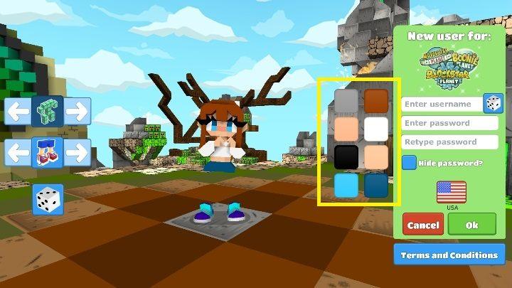 После выбора внешнего вида героя выберите цвета - Шаг 2 - Создание персонажа в BlockStarPlanet - 10 шагов к началу - Руководство по BlockStarPlanet