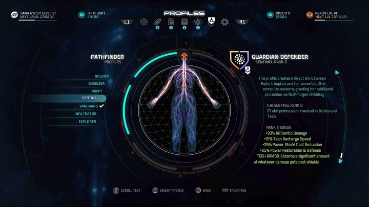 The Sentinel profile on the selection screen. - Sentinel | Character profiles - Character profiles - Mass Effect: Andromeda Game Guide
