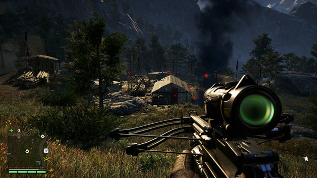 From some distance, mark as many enemies as you can to have a better view of the situation. - KEO Logging Camp - Outposts - Two alarms - Far Cry 4 - Game Guide and Walkthrough