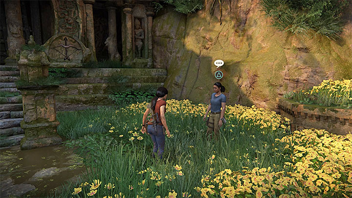 The chance for this conversation with Nadine appears when you reach area near Parashurama fort located in the south-west part of the map - 4 - Photos, optional conversations and lockboxes in Wester Ghats | Secrets - Secrets - Uncharted: The Lost Legacy Game Guide