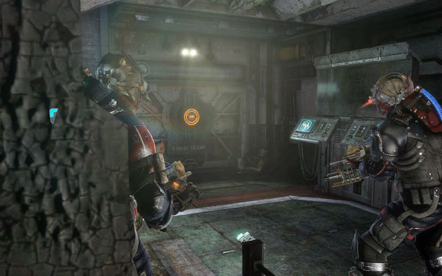 Run forwards through the corridor, eliminating any threat along your way, until you get to the electronic interface - Find the source of the transmission | Co-op missions: C.M.S. Brusilov - Co-op missions: C.M.S. Brusilov - Dead Space 3 Game Guide