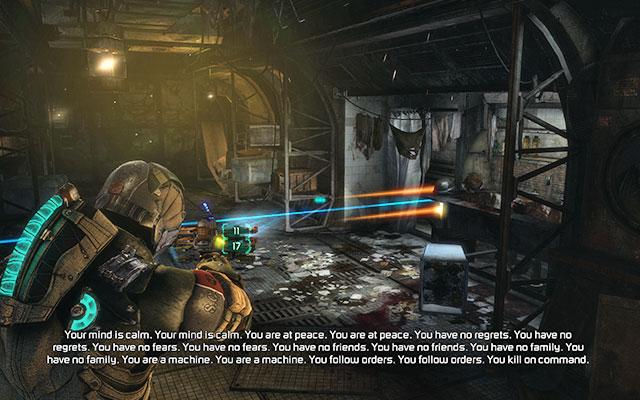Пройдя через ворота, вы попадете в коридор, полный взрывчатых веществ, из которого выходит лазерный луч - Уничтожьте 163-ю казарму жнецов |  Побочные миссии: Казармы Жнецов - Побочные миссии: Казармы Жнецов - Dead Space 3 Руководство по игре