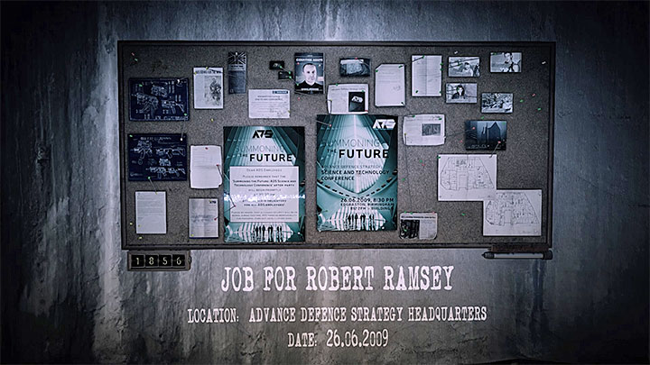 The evidence board for The Kidnapping memory is presented in the picture above - Job for Robert Ramsey | Hidden memories - Hidden memories - Get Even Game Guide
