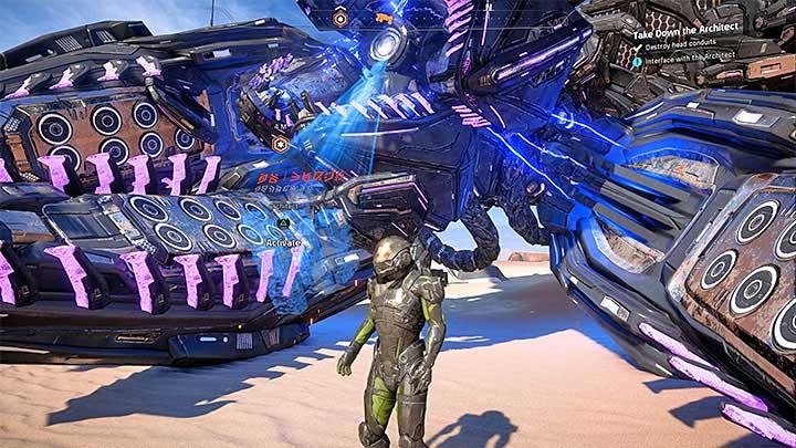 Беги к упавшей голове босса - Как победить Эос Остатка Архитектора?  |  Босс борется |  Прохождение - Битвы с боссами - Mass Effect: Руководство по игре Andromeda