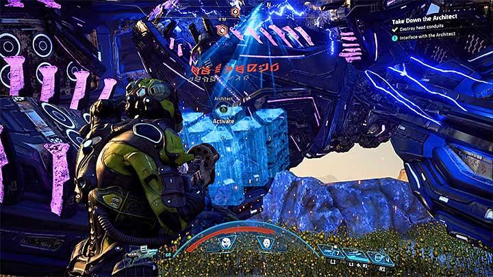 Беги к упавшей голове босса - Как победить Остатка Архитектора на Кадаре?  |  Босс борется |  Прохождение - Битвы с боссами - Mass Effect: Руководство по игре Andromeda
