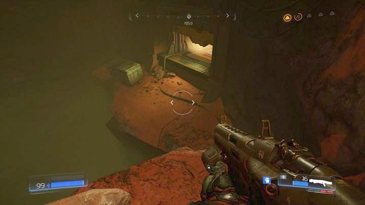 Расположитесь перед синим барьером после уничтожения первого Гнезда Гора и попытайтесь обойти барьер слева - Argent Facility |  Секреты - Секреты - Руководство по игре в Doom и прохождение