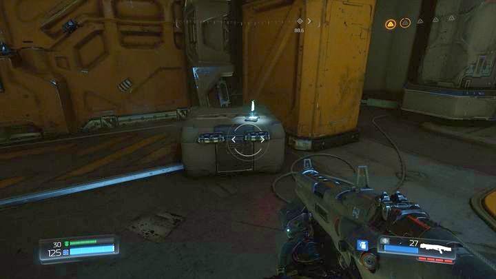 Идите в комнату впереди синего барьера после уничтожения первого Гнездо Гора - Argent Facility |  Секреты - Секреты - Руководство по игре в Doom и прохождение