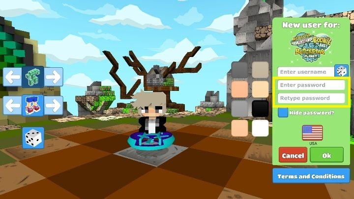 После выбора героя и выбора его или ее имени, придумайте пароль для своей учетной записи - Шаг 2 - Создание персонажа в BlockStarPlanet - 10 шагов для запуска - Руководство по BlockStarPlanet
